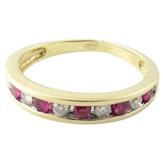 Vintage 14 Karat Yellow Gold Ruby and Diamond Ring Size 7.75