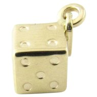 Vintage 14 Karat Yellow Gold Dice Charm