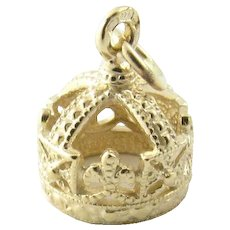 Vintage 9 Karat Yellow Gold Crown Charm