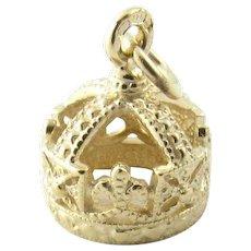 Vintage 9 Karat Yellow Gold Crown Charm