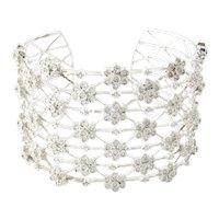 Vintage 18 Karat White Gold Diamond Cuff Bracelet