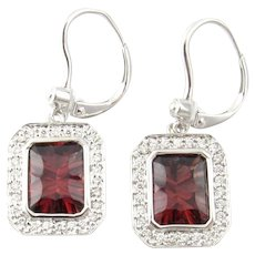 Vintage 14 Karat White Gold Rhodolite Garnet and Diamond Earrings