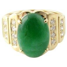 Vintage 18 Karat Yellow Gold Jade and Diamond Ring Size 6.75