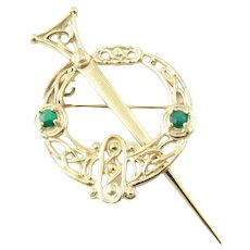 Vintage 9 Karat Yellow Gold and Emerald Celtic Brooch/Pin