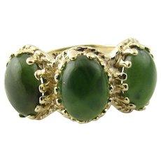 Vintage 14 Karat Yellow Gold and Jade Ring Size 5.75