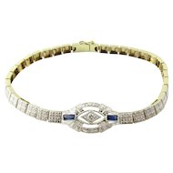 Vintage 14 Karat White Gold Diamond and Sapphire Bracelet