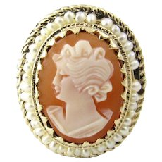 Vintage 14 Karat Yellow Gold and Pearl Cameo Ring Size 7