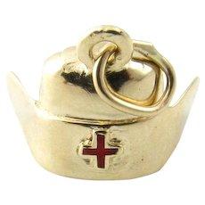 Vintage 14 Karat Yellow Gold Nurse's Cap Charm