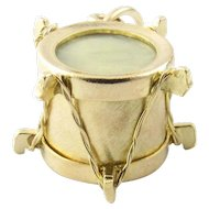 Vintage 14 Karat Yellow Gold and Mother of Pearl Drum Charm