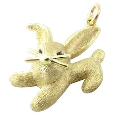 Vintage 14 Karat Yellow Gold Rabbit Charm