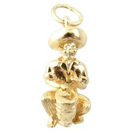 Vintage 14 Karat Yellow Gold Bongo Drum Player Charm