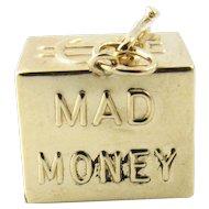Vintage 14 Karat Yellow Gold Mad Money Charm
