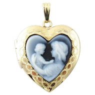 Vintage 14 Karat Yellow Gold Blue Agate Mother and Child Heart Locket Pendant