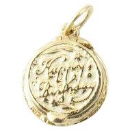Vintage 14 Karat Yellow Gold Articulated Birthday Cake Charm