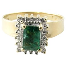 Vintage 14 Karat Yellow Gold Emerald and Diamond Ring Size 7.25