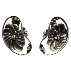 Vintage Georg Jensen Denmark Sterling Silver #52 Flower Bean Clip On Earrings
