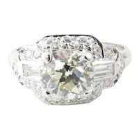 Vintage 1.75ct Platinum Old Mine Diamond Engagement Ring Size 7