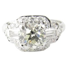 Vintage 1.75ct Platinum Old Mine Diamond Engagement Ring Size 7