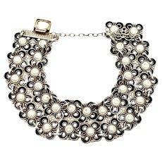 Vintage David Andersen Norway Sterling Silver Black and White Enamel Double Row Flower Bracelet