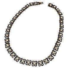 Vintage David Andersen Norway Gold Vermeil Over Sterling Silver Black and White Enamel Flower Necklace