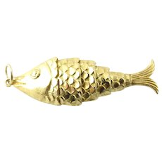 Vintage 14 Karat Yellow Gold Articulated Fish Pendant