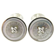 Vintage Turnbull & Asser Sterling Silver and Mother of Pearl Button Cufflinks