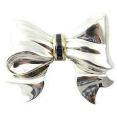 Vintage Tiffany & Co. Sterling Silver and 14 Karat Yellow Gold Sapphire Bow Pin/Brooch