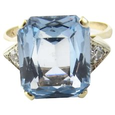 Vintage 14 Karat Yellow Gold Blue Topaz and Diamond Ring Size 7.25