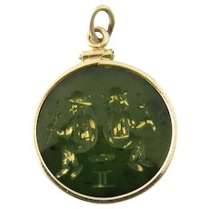 Vintage 10 Karat Yellow Gold and Jade Pendant