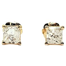 Vintage 14 Karat Yellow Gold Princess Cut Diamond Stud Earrings (.50 ct. twt.)