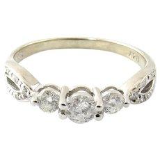 Vintage 14 Karat White Gold Diamond Engagement Ring Size 7.25