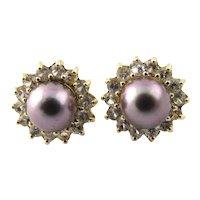 Vintage 14 Karat Yellow Gold Grey Pearl and Cubic Zirconia Earrings