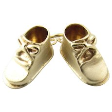 Vintage 14 Karat Yellow Gold Baby Shoes Charm