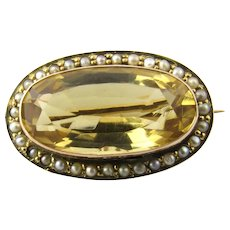 Vintage 9 Karat Yellow Gold Citrine and Seed Pearl Brooch/Pin