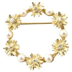 Vintage 14 Karat Yellow Gold, Pearl and Diamond Wreath Pin/Brooch