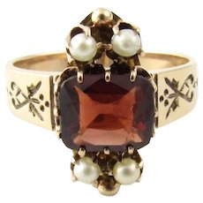 Antique Victorian 14 Karat Yellow Gold Garnet and Pearl Ring Size 6.5