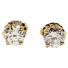 Vintage 14 Karat Yellow Gold Diamond Stud Earrings .73 ct. twt.
