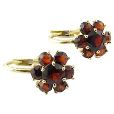 Vintage 18 Karat Yellow Gold and Garnet Earrings