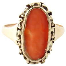 Vintage 10 Karat Yellow Gold Coral Cameo Ring Size 7