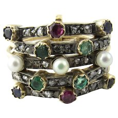 Vintage 14 Karat Yellow Gold Diamond, Pearl, Emerald, Sapphire and Ruby Five Band Ring Size 6