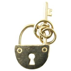 Vintage 14 Karat Yellow Gold Lock and Key Charm