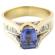 Vintage 14 Karat Yellow Gold Tanzanite and Diamond Ring Size 6.75
