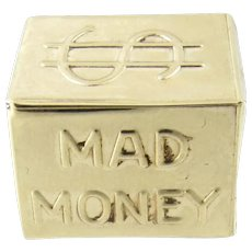 Vintage 14 Karat Yellow Gold Mad Money Charm