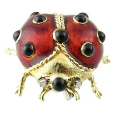 Vintage 18 Karat Yellow Gold, Diamond and Enamel Lady Bug Pin/Crutch