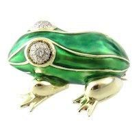 Vintage 14 Karat Yellow Gold, Enamel and Diamond Frog Pin/Brooch