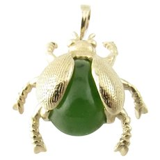 Vintage 14 Karat Yellow Gold and Jade Beetle Pendant