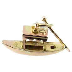 Vintage 14 Karat Rose and Yellow Gold Fishing Boat Charm
