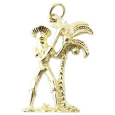 Vintage 14 Karat Yellow Gold Palm Tree with Man with Machete Charm