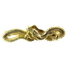 Vintage 14 Karat Yellow Gold Winged Dragon Serpent Brooch/Pin