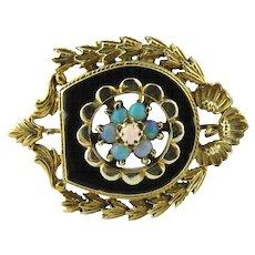Vintage 14K Yellow Gold Opal and Black Enamel Brooch / Pin / Pendant